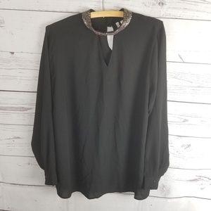 ⚡Cato Vneck Beaded Collar Blouse Black Plus 14/16w